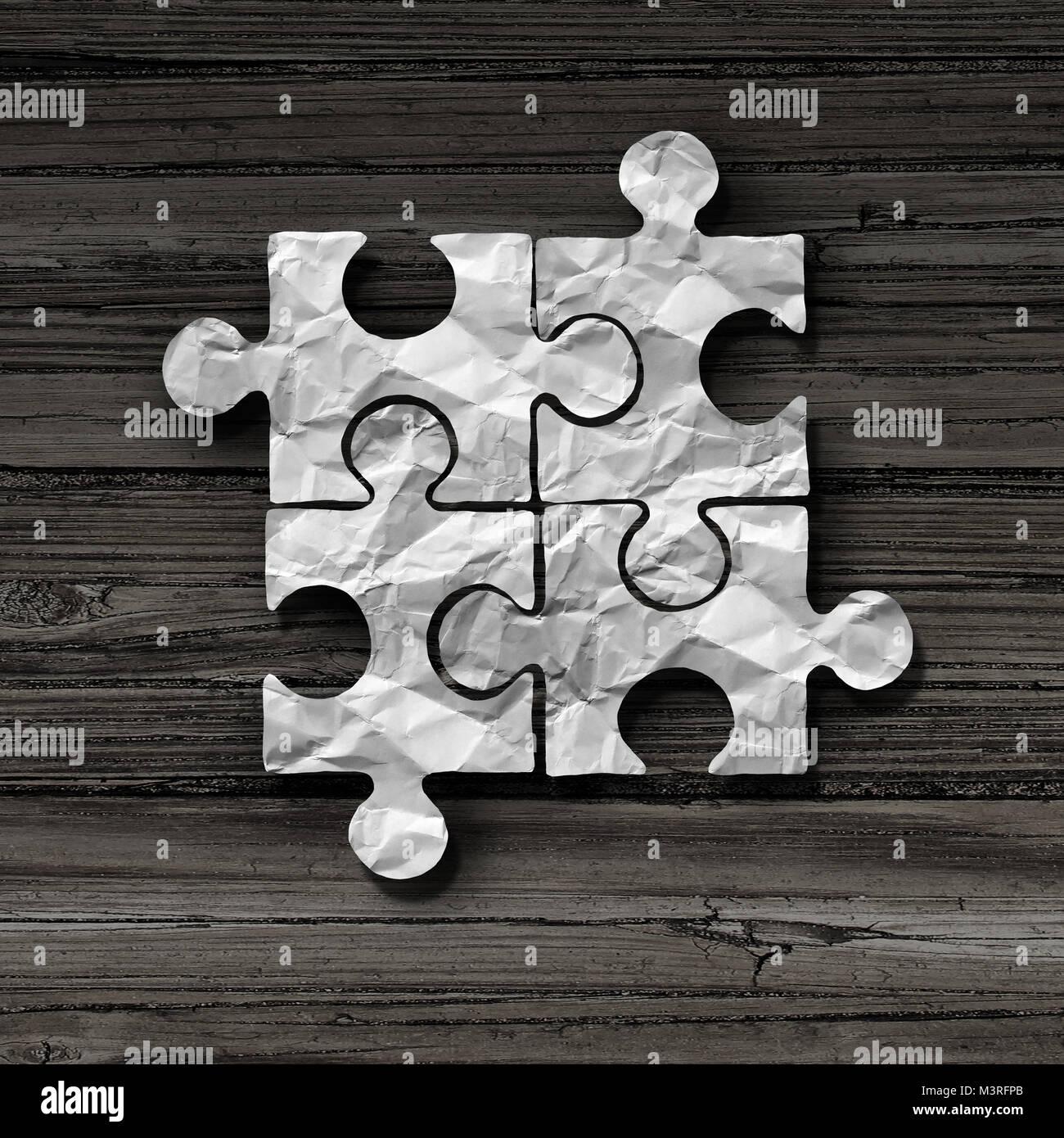 Business puzzle abstracto concepto como símbolo de unidad y de conexión como una pieza del rompecabezas metáfora Foto de stock