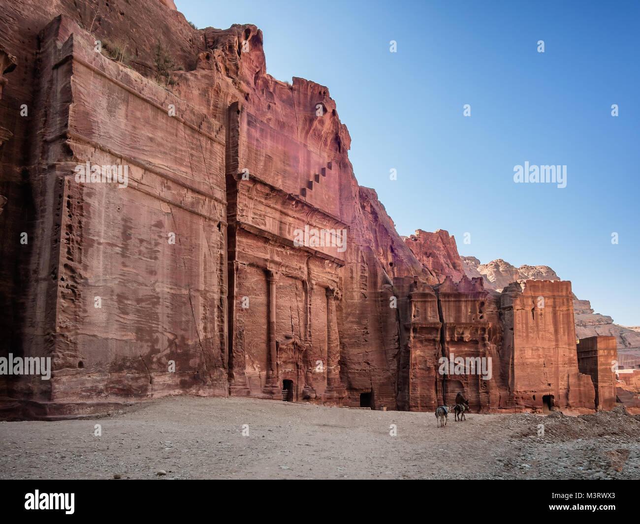 Petra, Jordania de las fachadas de la calle Imagen De Stock