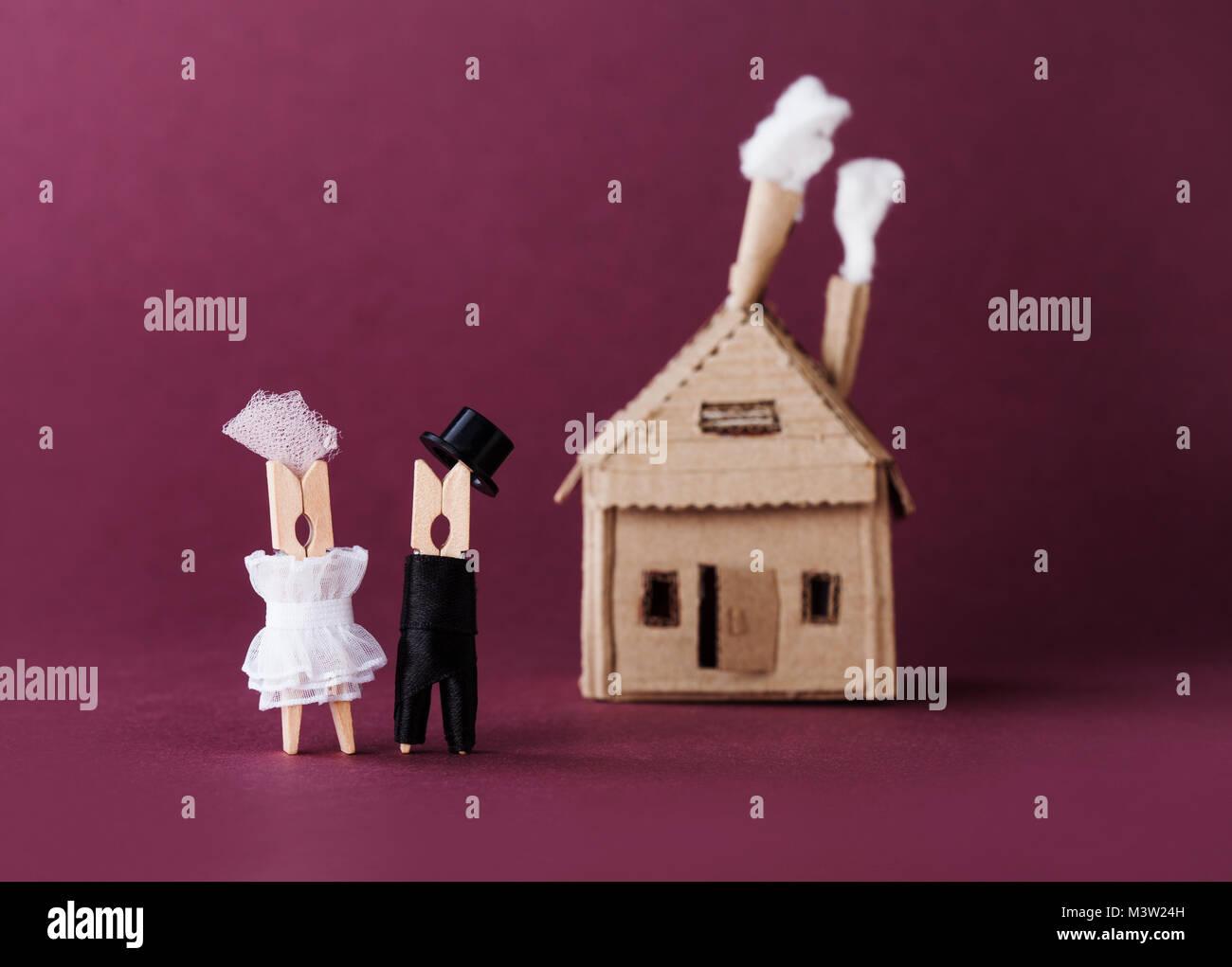 353ee5cfe Invitación de boda estilo retro amor concepto. Novia Novio ...