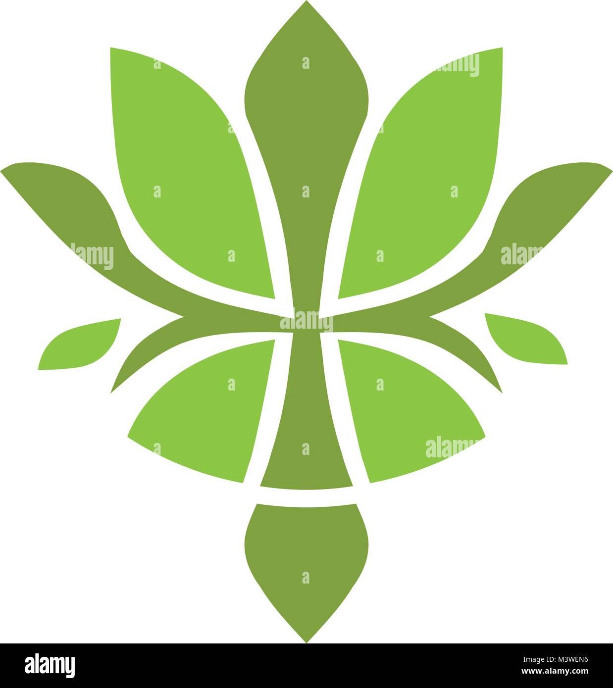 Concepto De Hermosa Flor De Loto Verde Logotipo Logotipo De Yoga