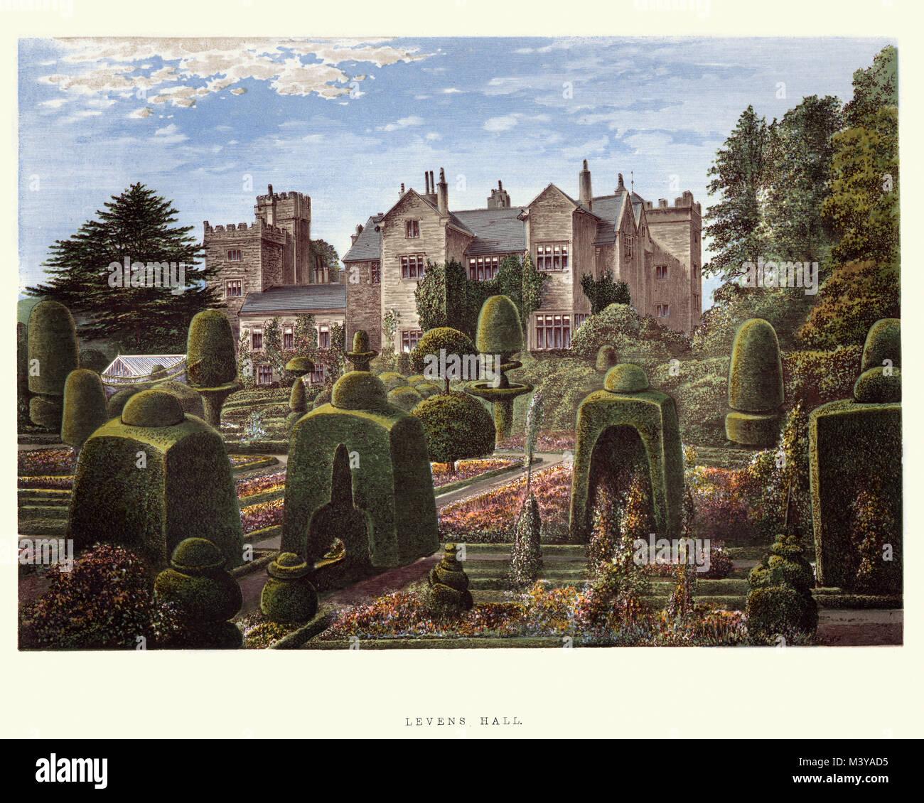Vintage grabado de Levens Hall es una casa solariega en el valle de Kent, cerca de la aldea de Levens y a 5 millas Imagen De Stock