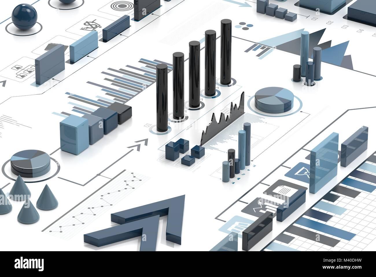 Infografía 3d antecedentes, concepto empresarial. 3D ilustrando Imagen De Stock