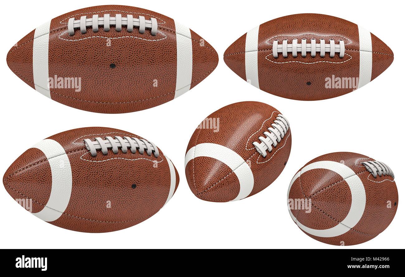 Colección de bola de fútbol americano aislado en blanco 3D rendering imagen  Imagen De Stock 1463a6e1e13b1