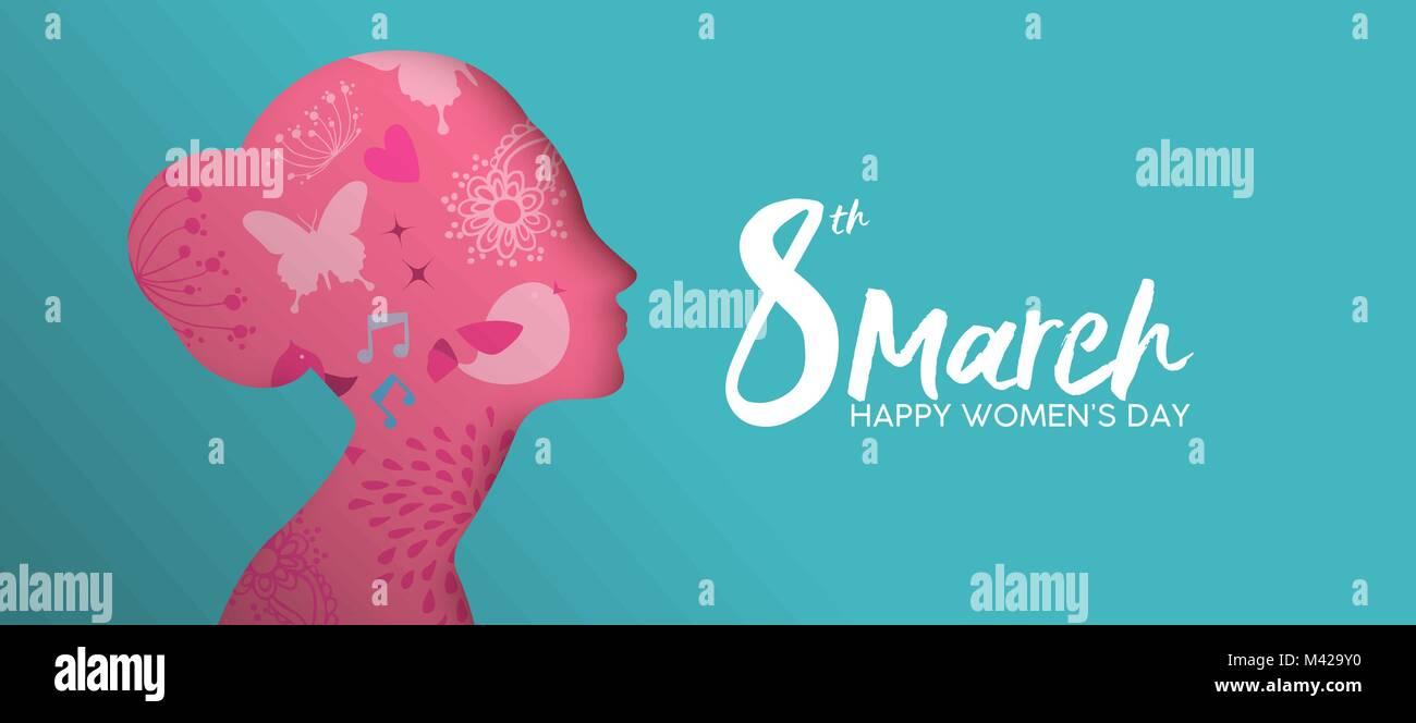 Feliz Día de la mujer vacaciones ilustración. Recorte de papel chica ...