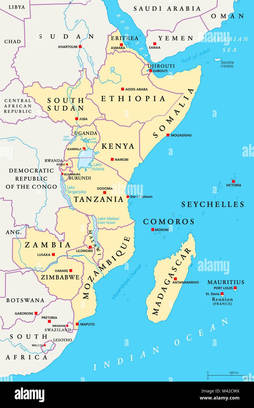 Region De Africa Oriental El Mapa Politico Zona Con Capitales