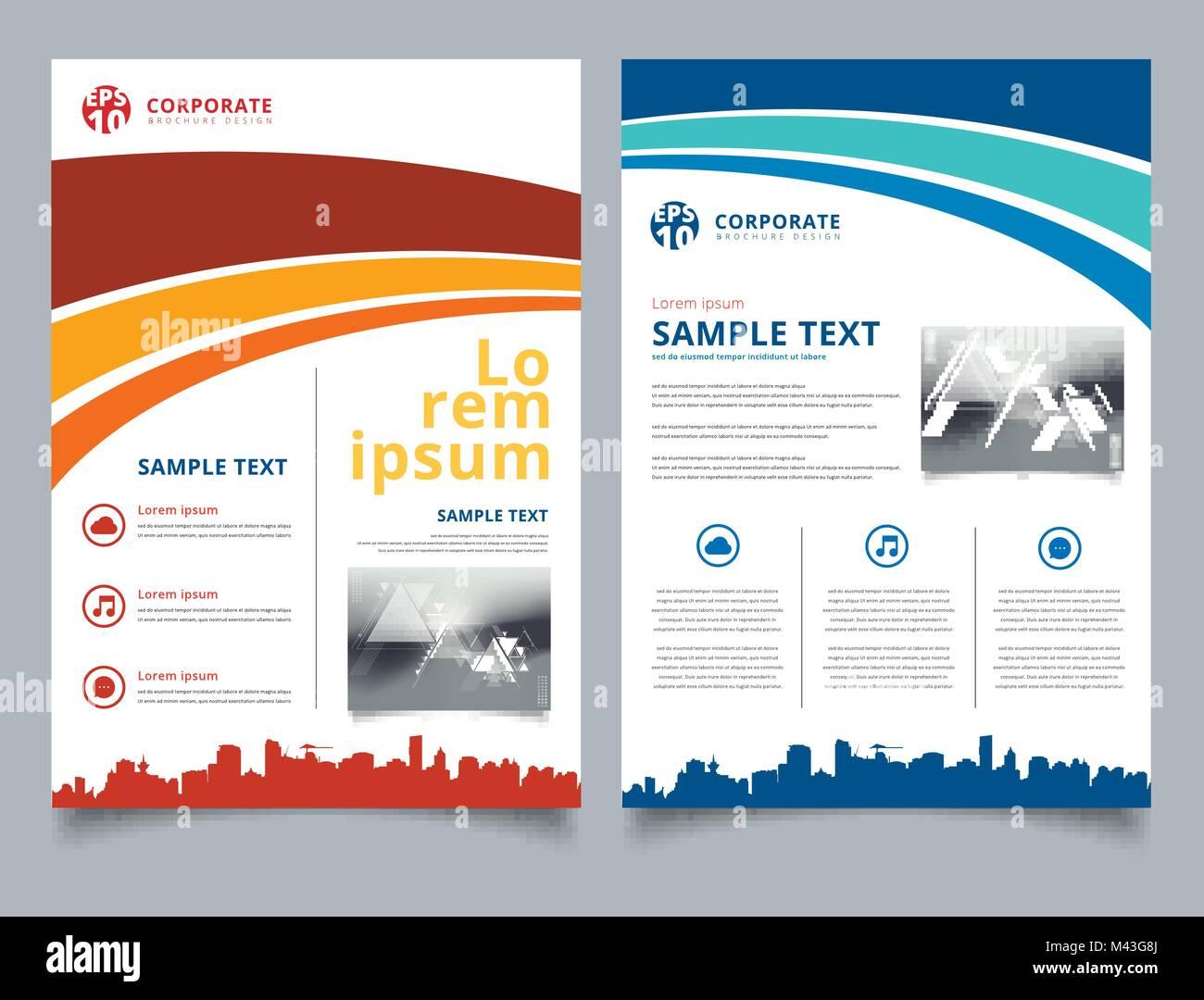 Plantilla de folleto azul y rojo línea curva gráfica con el paisaje ...