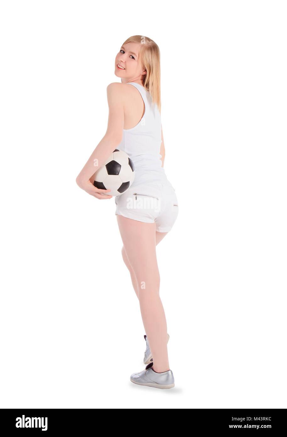 ef7d473ed2c22 Jóvenes mujeres caucásicas con balón de fútbol sobre fondo blanco. Imagen  De Stock
