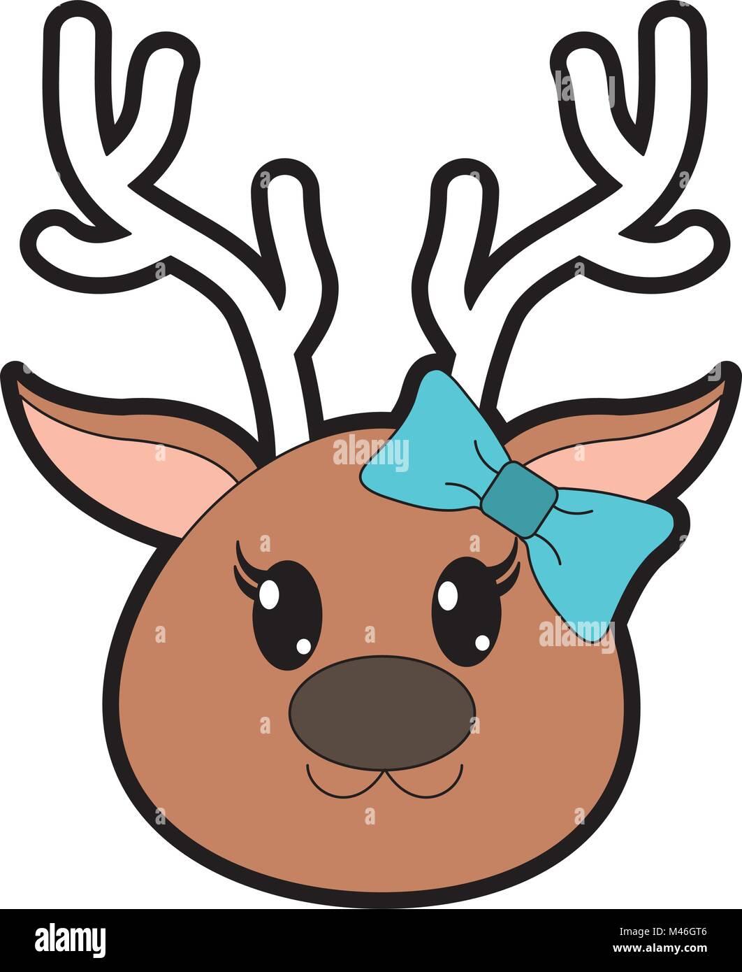 A todo color de cabeza de reno hembra animal lindo Ilustración del ...