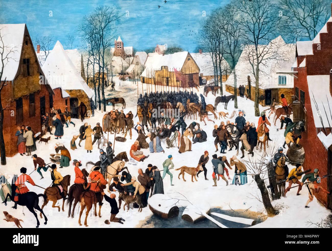 La matanza de los inocentes por Pieter Bruegel el Viejo (c.1525-1569), óleo sobre panel, c.1565-7 Foto de stock