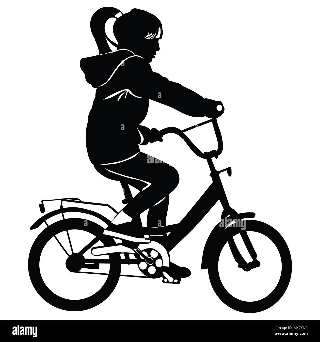 Niña paseos en bicicleta - contour Imagen De Stock