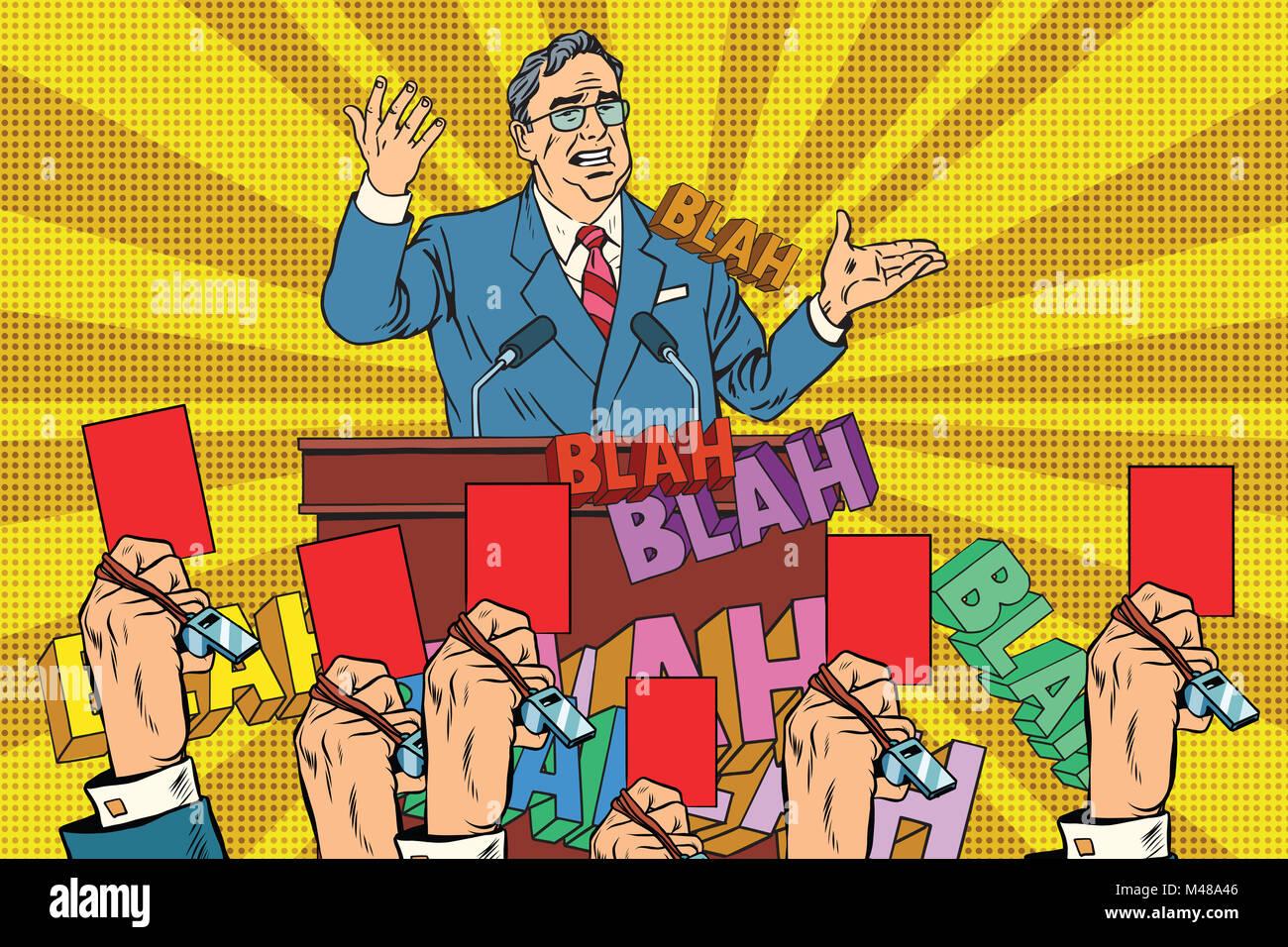 La desconfianza de la política, una tarjeta roja candidato Imagen De Stock