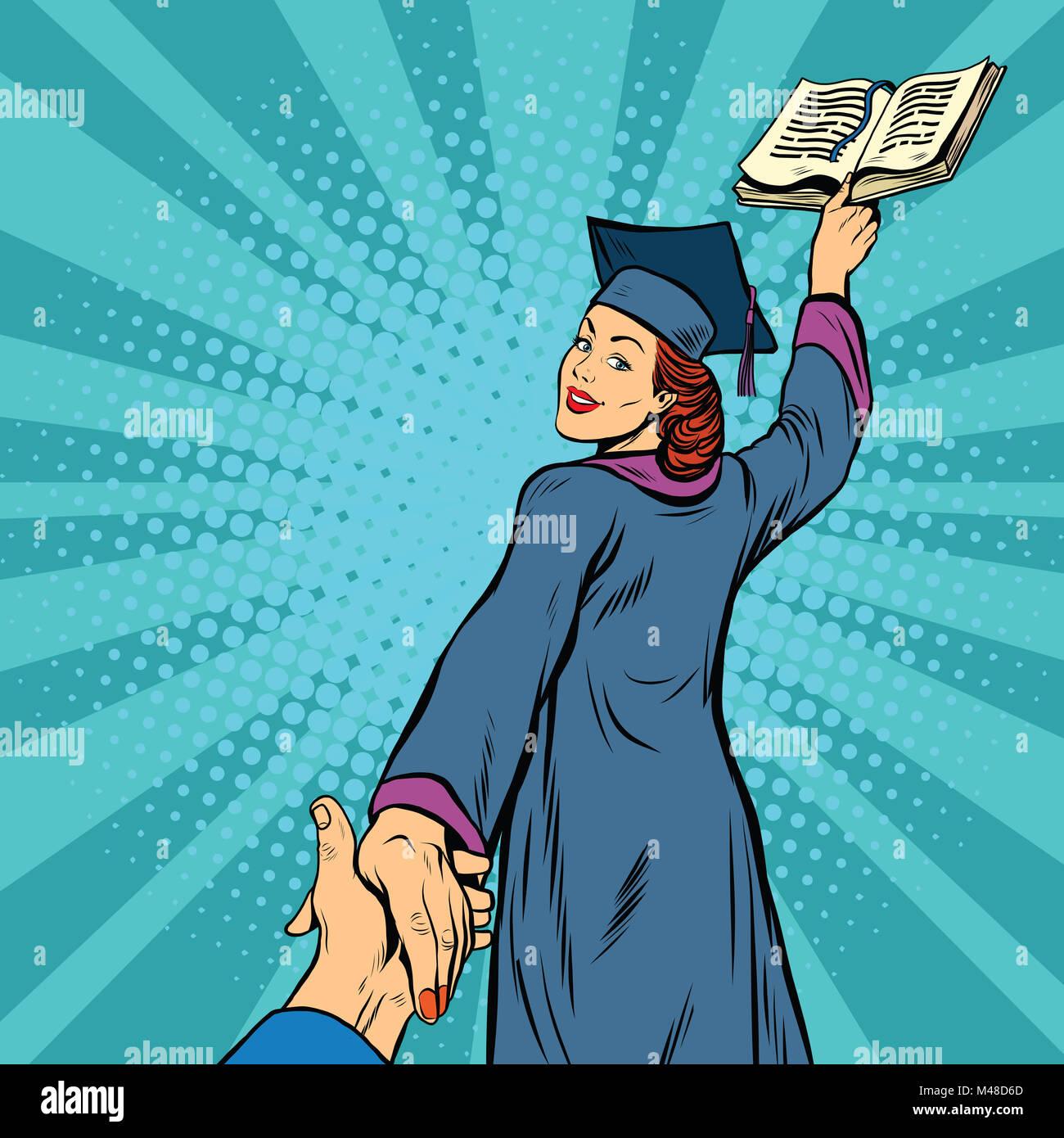Sígueme, una mujer estudiante graduado de educación de conocimientos Imagen De Stock