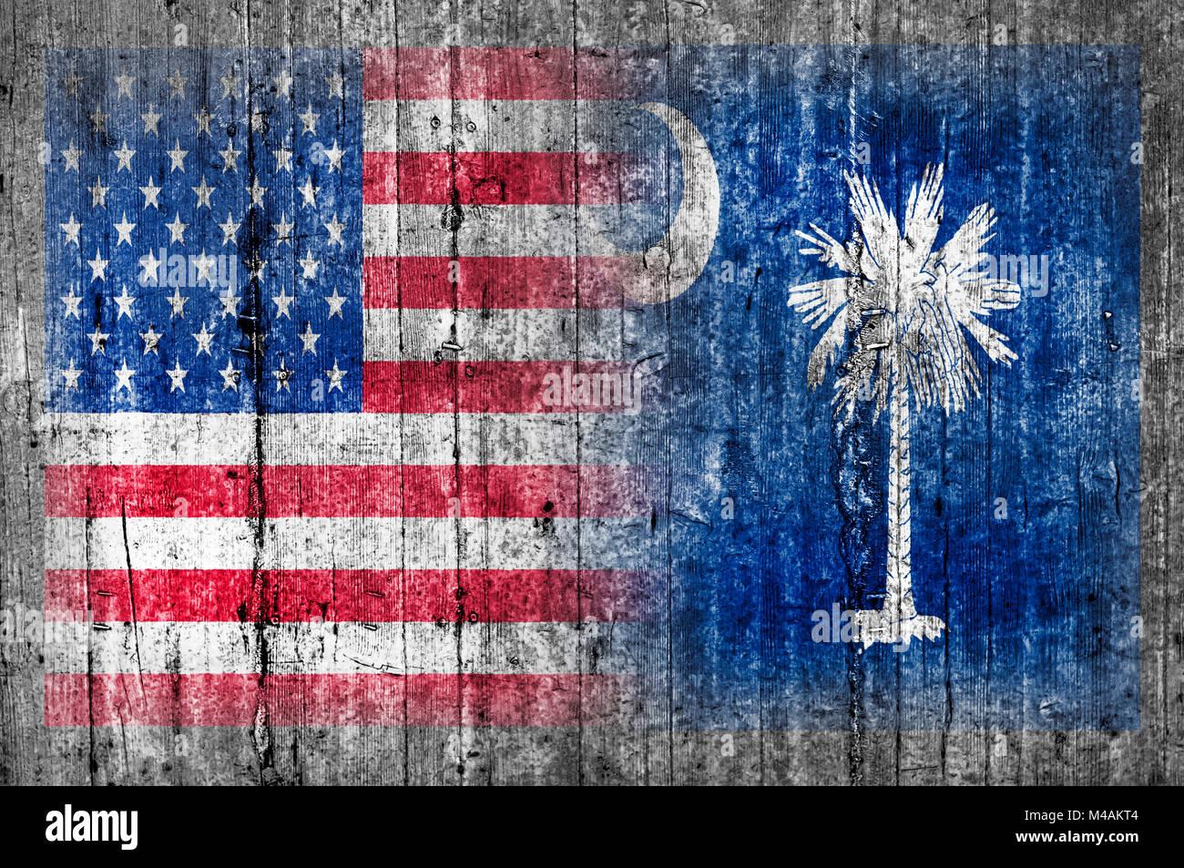 Estados Unidos Y Carolina Del Sur Bandera En Muro De Hormigon Foto
