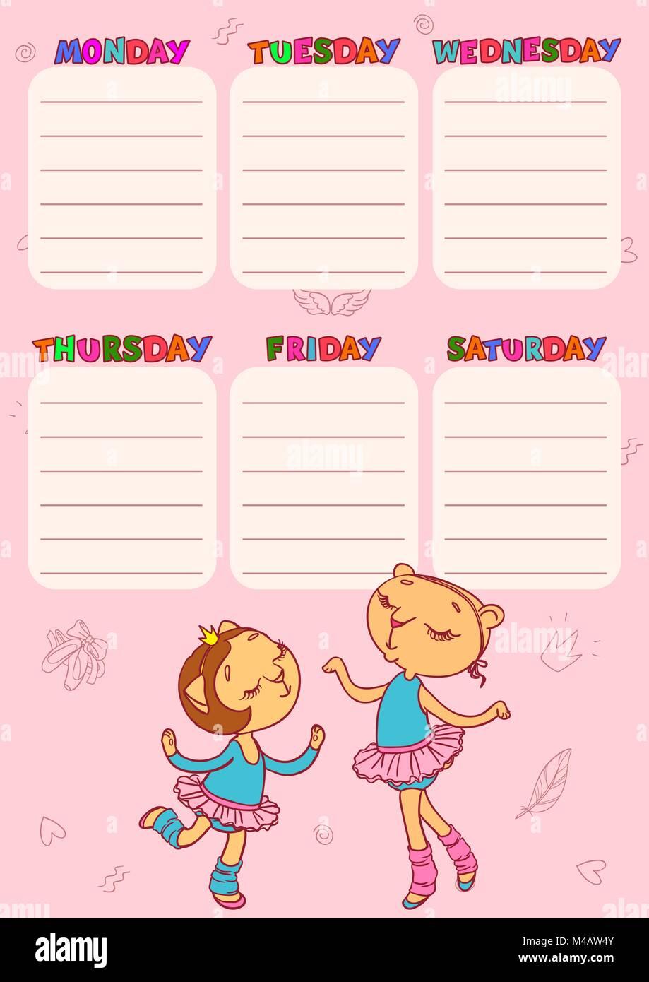 Calendario para la escuela con lindo gato-girls. Vector plantillas ...
