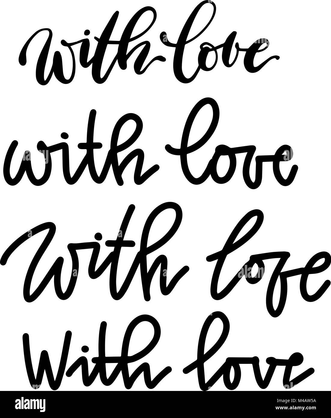 Conjunto De Inscripciones Caligraficas Con Letras De Amor Vector