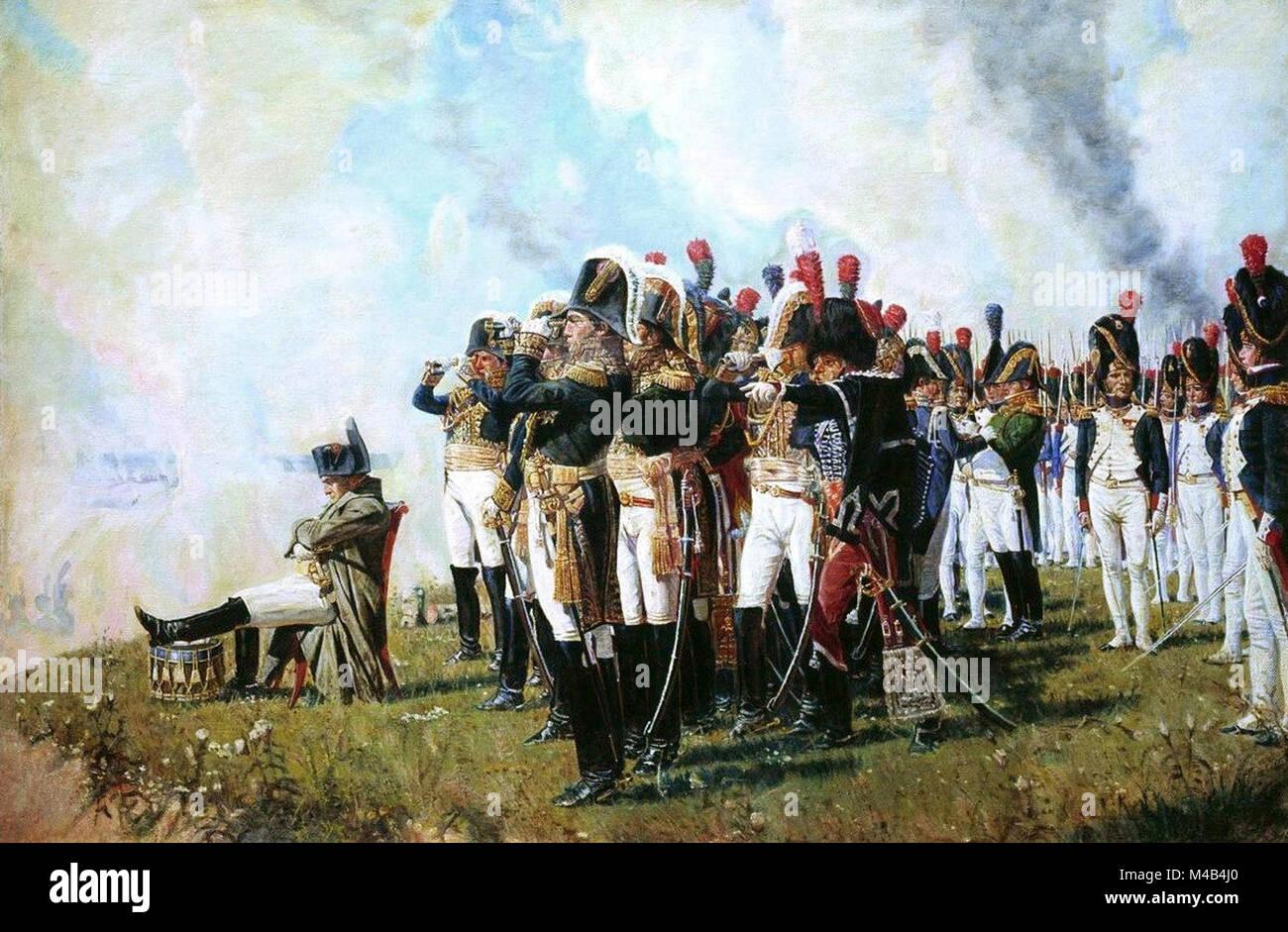 Napoleón I en el Borodino alturas por Vasily Vereshchagin pintada en 1897. La batalla de Borodino fue una batalla librada el 7 de septiembre de 1812 en las guerras napoleónicas durante la invasión francesa de Rusia. Se libró entre los ejércitos de Napoleón, Mikhail Kutuzov, Pyotr Bagration y Michael Andreas Barclay de Tolly. Foto de stock