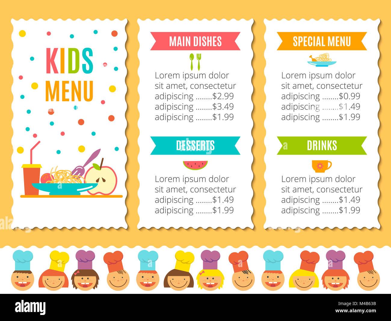 Plantilla de menú para niños Foto & Imagen De Stock: 174808575 - Alamy