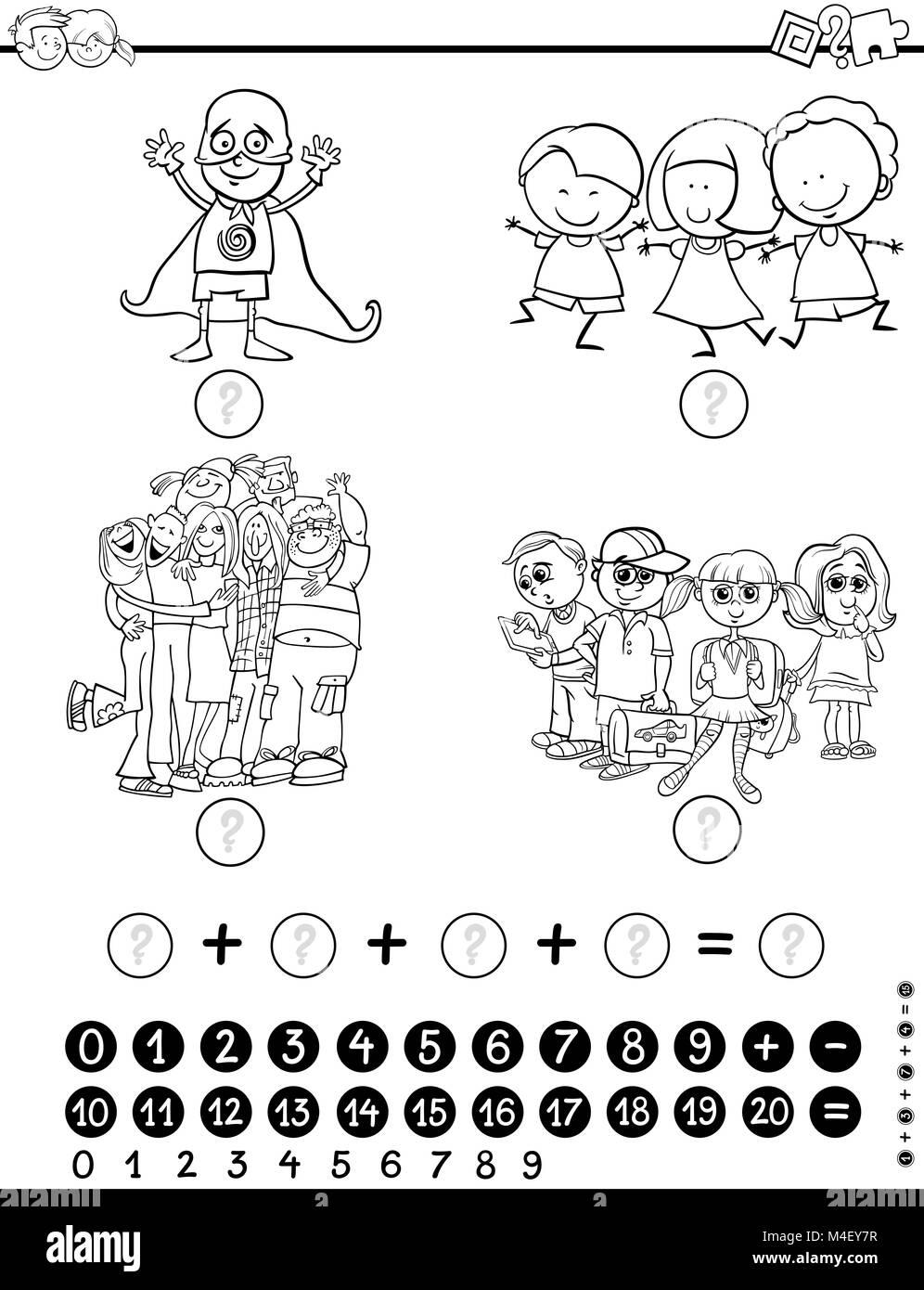 Actividad De Matemáticas Para Colorear Foto Imagen De Stock