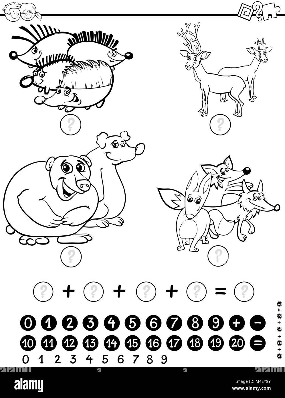 Hoja de trabajo de matemáticas para colorear Foto & Imagen De Stock ...