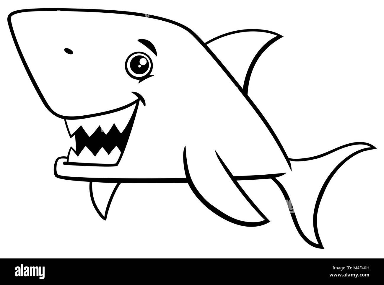 Página para colorear de peces tiburón Foto & Imagen De Stock ...