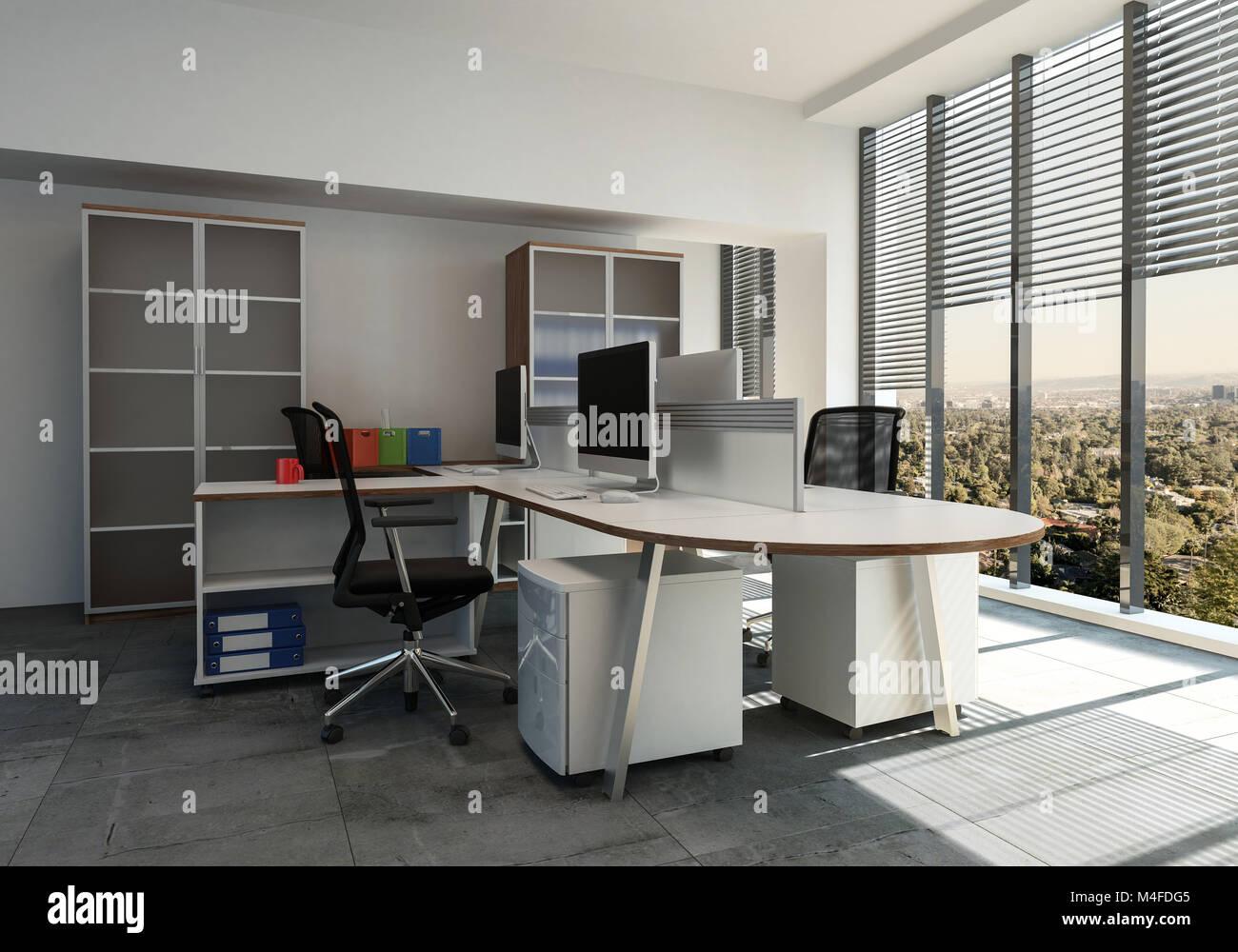 Oficina moderna interior con ventanales con persianas y un for Mesa escritorio moderna
