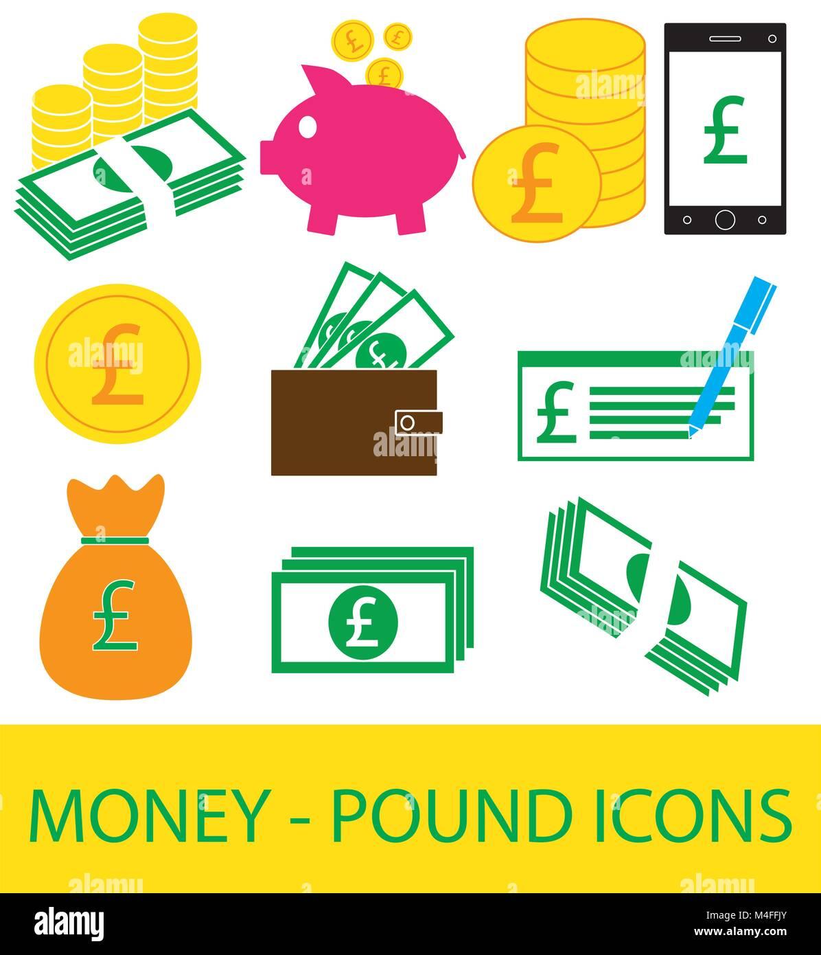 Conjunto, colección o pack de moneda libra icono o logotipo. Monedas, billetes o facturas, celular o teléfono Imagen De Stock