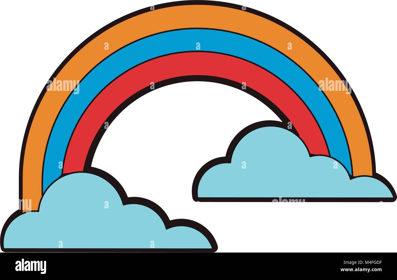 Arco Iris y nubes Ilustración del Vector, Imagen: 174904507 - Alamy