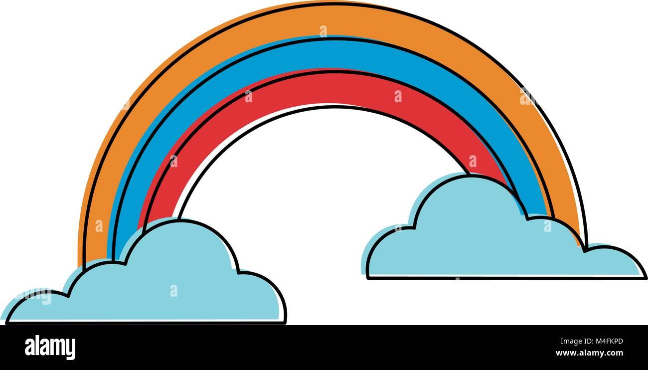 Arco Iris y nubes Ilustración del Vector, Imagen: 174907109 - Alamy