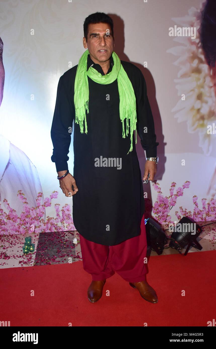 Mumbai, India. 16 Feb, 2018. Actor indio Mukesh Rishi presente en la 5Yash Chopra Memorial Award en el hotel JW Foto de stock