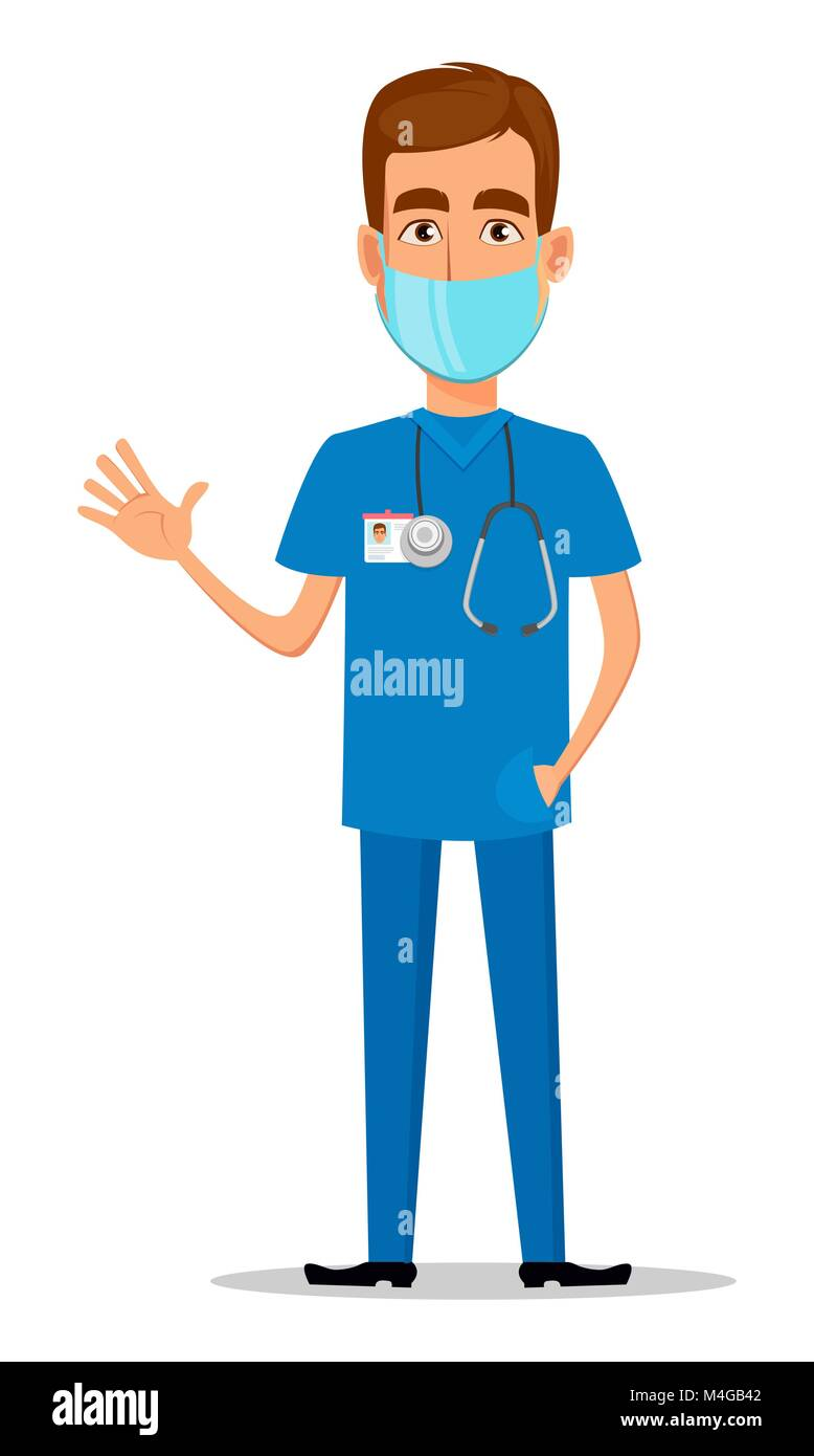 Joven profesional médico en máscara agitando la mano