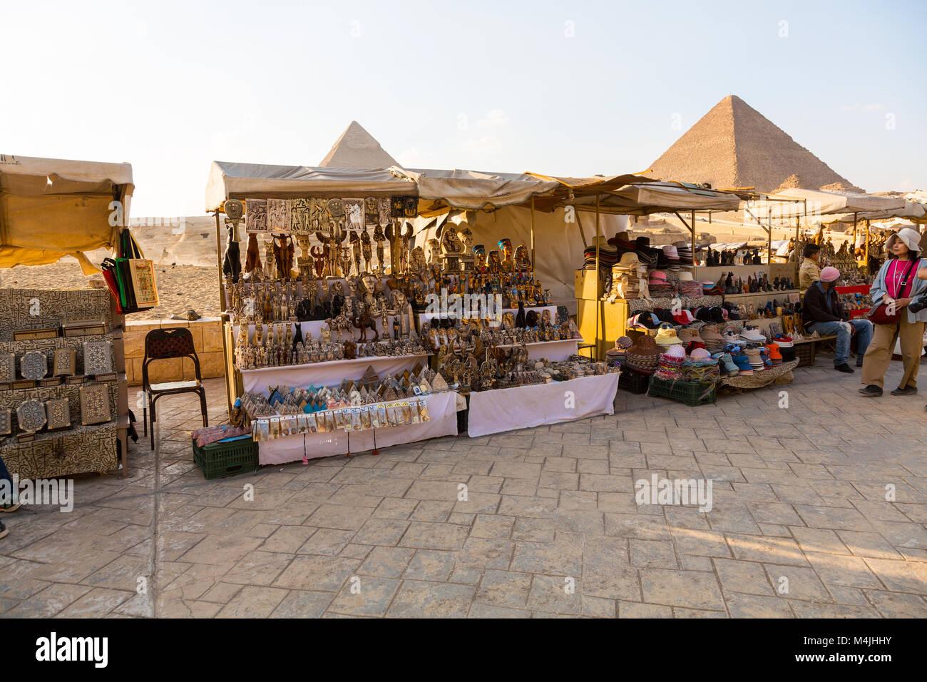 Pirámides en Giza, Egipto, Norte de África Imagen De Stock