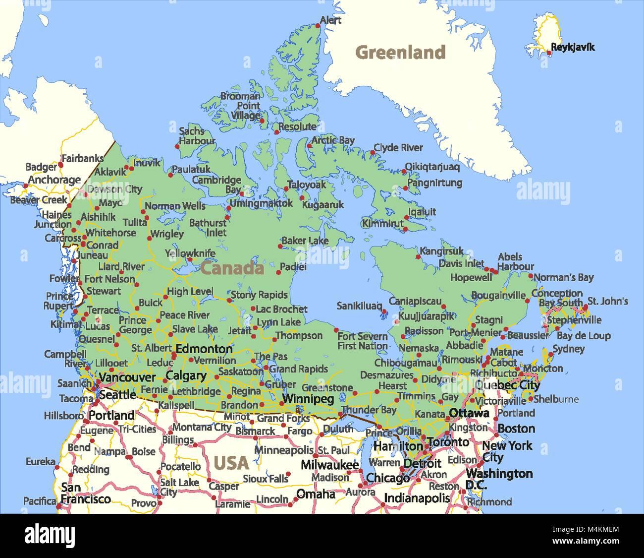 Mapa De Canada Muestra Las Fronteras De Los Paises Los