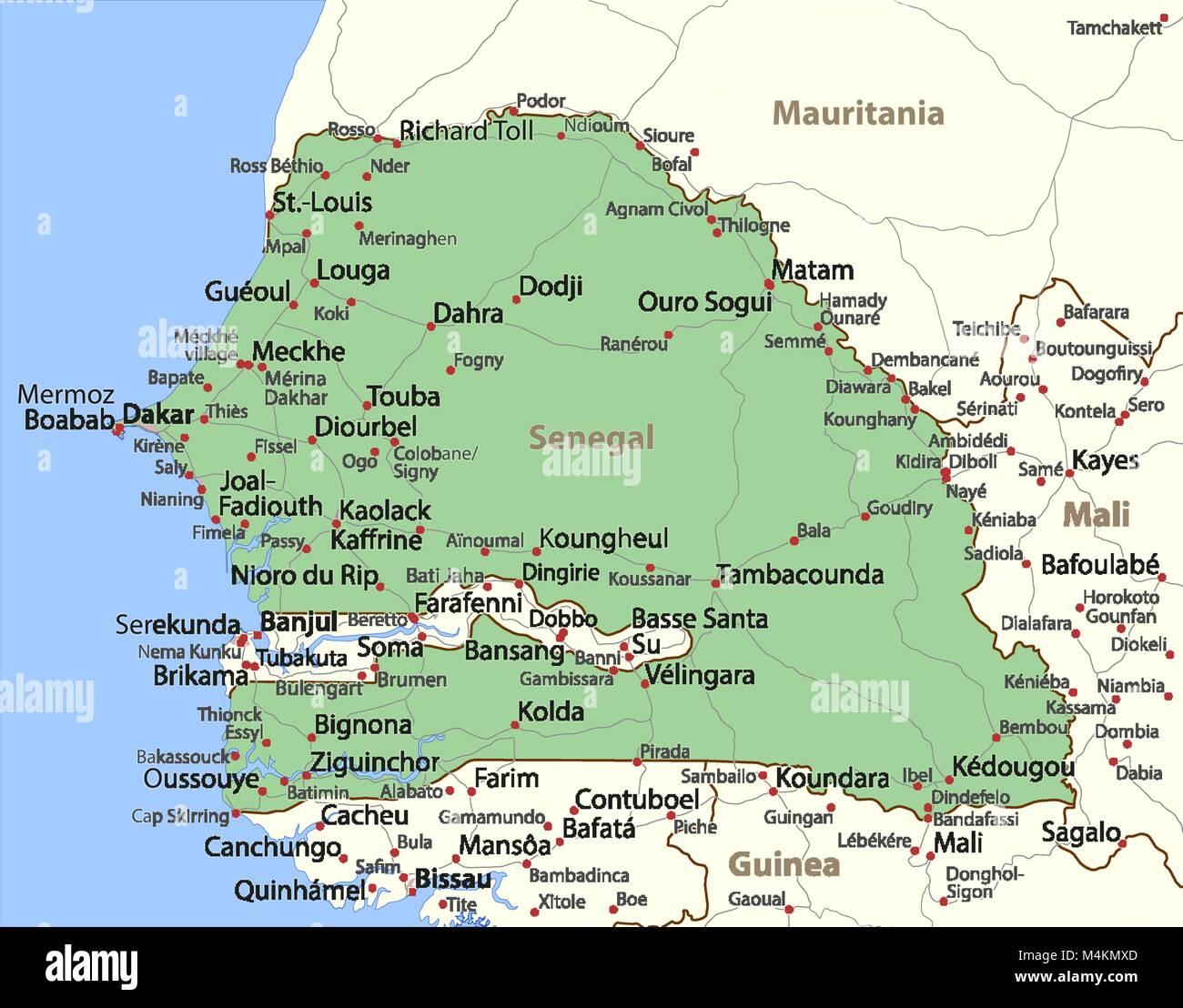 Mapa De Senegal Muestra Las Fronteras De Los Paises Las Zonas