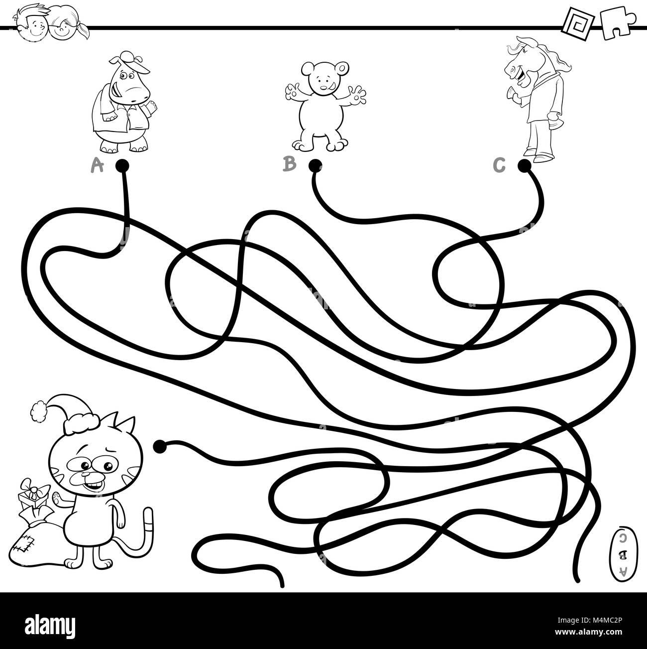 Página para colorear juego Laberinto ruta Foto & Imagen De Stock ...