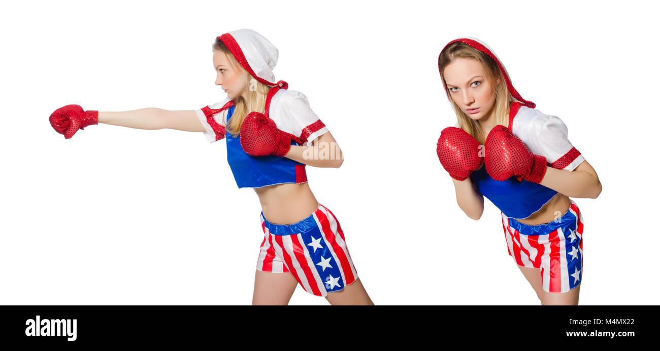 Boxer hembra aislado en el fondo blanco. Foto de stock