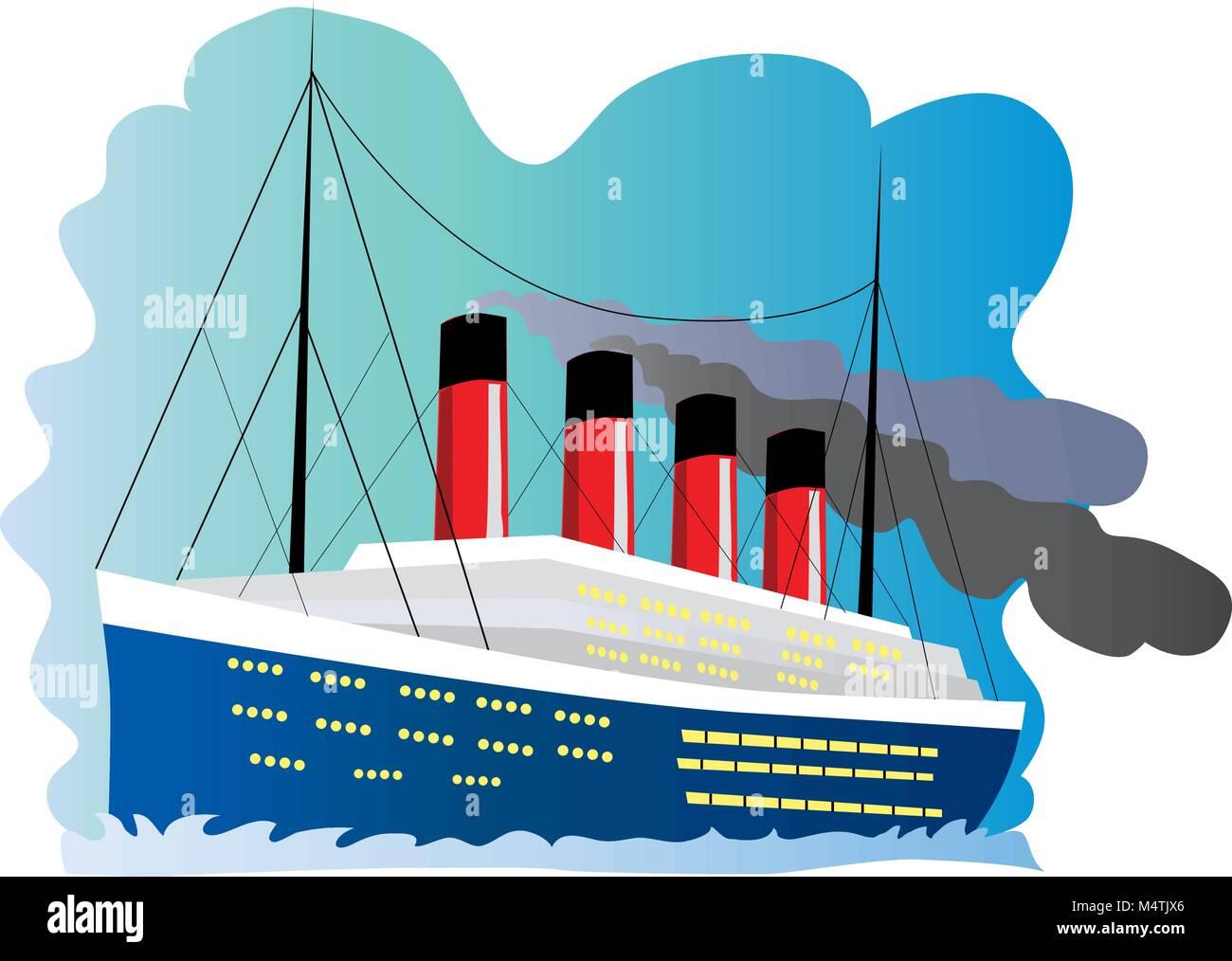 Una Caricatura Ilustración Del Barco Titanic Ilustración Del Vector