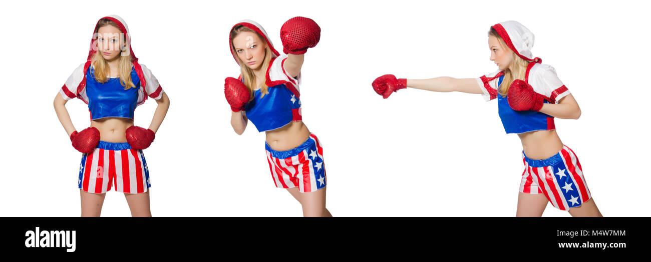 Boxer hembra aislado en el fondo blanco. Imagen De Stock