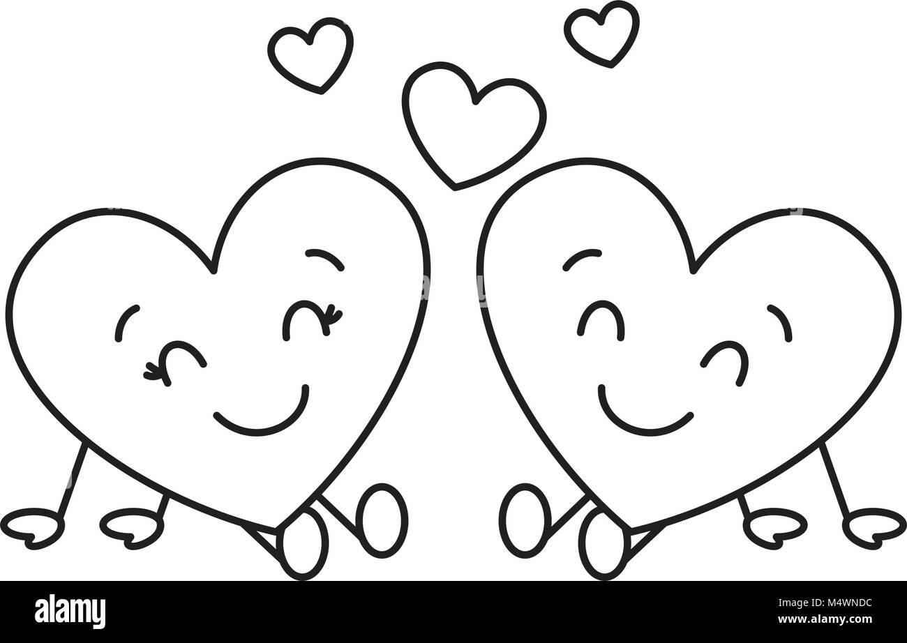 Bonitos Corazones Pareja Sentada La Relación De Amor De Dibujos
