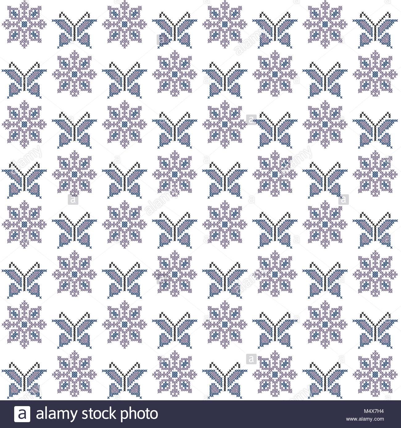 Punto de cruz patrón sin fisuras, bordado tradicional, con mariposas ...