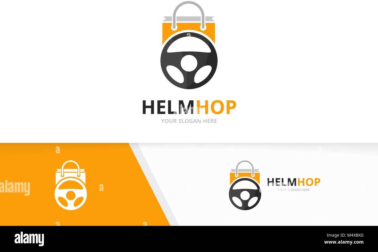 Coche de vector logo tienda helm y combinación. Volante y venta de ...