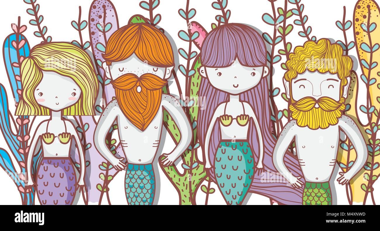 Poco mermaids Cute dibujos animados Imagen De Stock