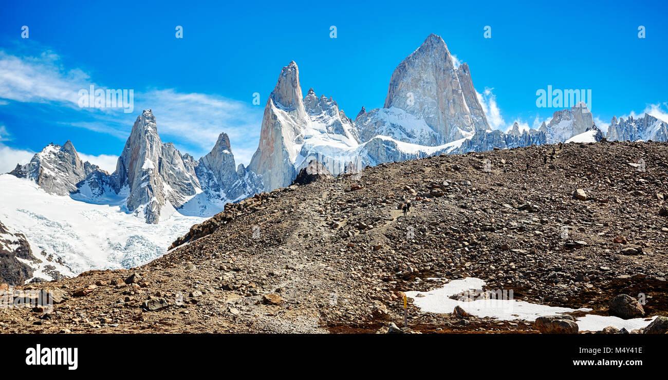 Cordillera de Fitz Roy, el Parque Nacional Los Glaciares, Argentina. Foto de stock