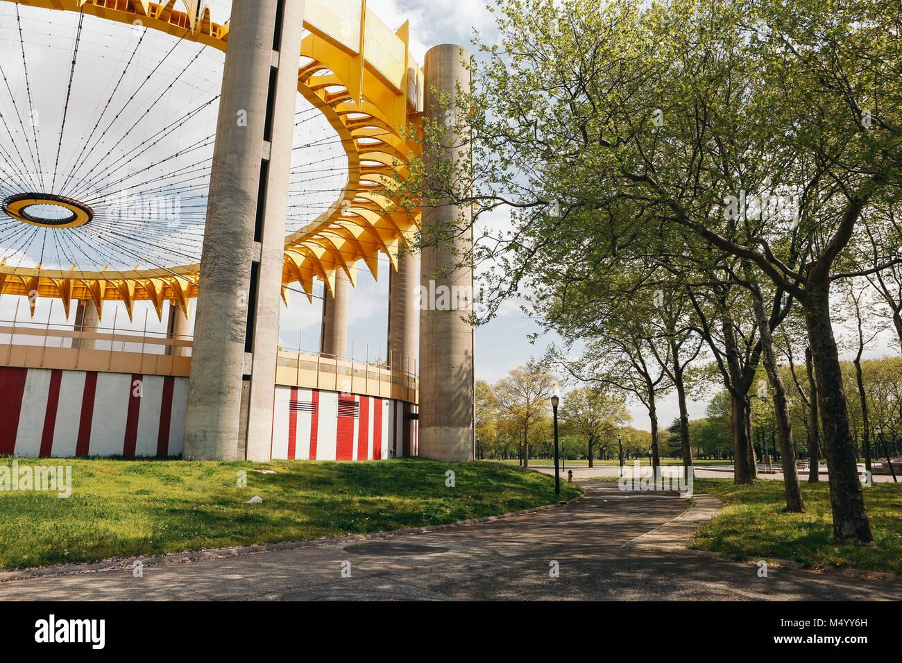 Mundos Pabellón Ferial de Flushing Meadow Corona Park en Queens, Nueva York, EE.UU. Foto de stock