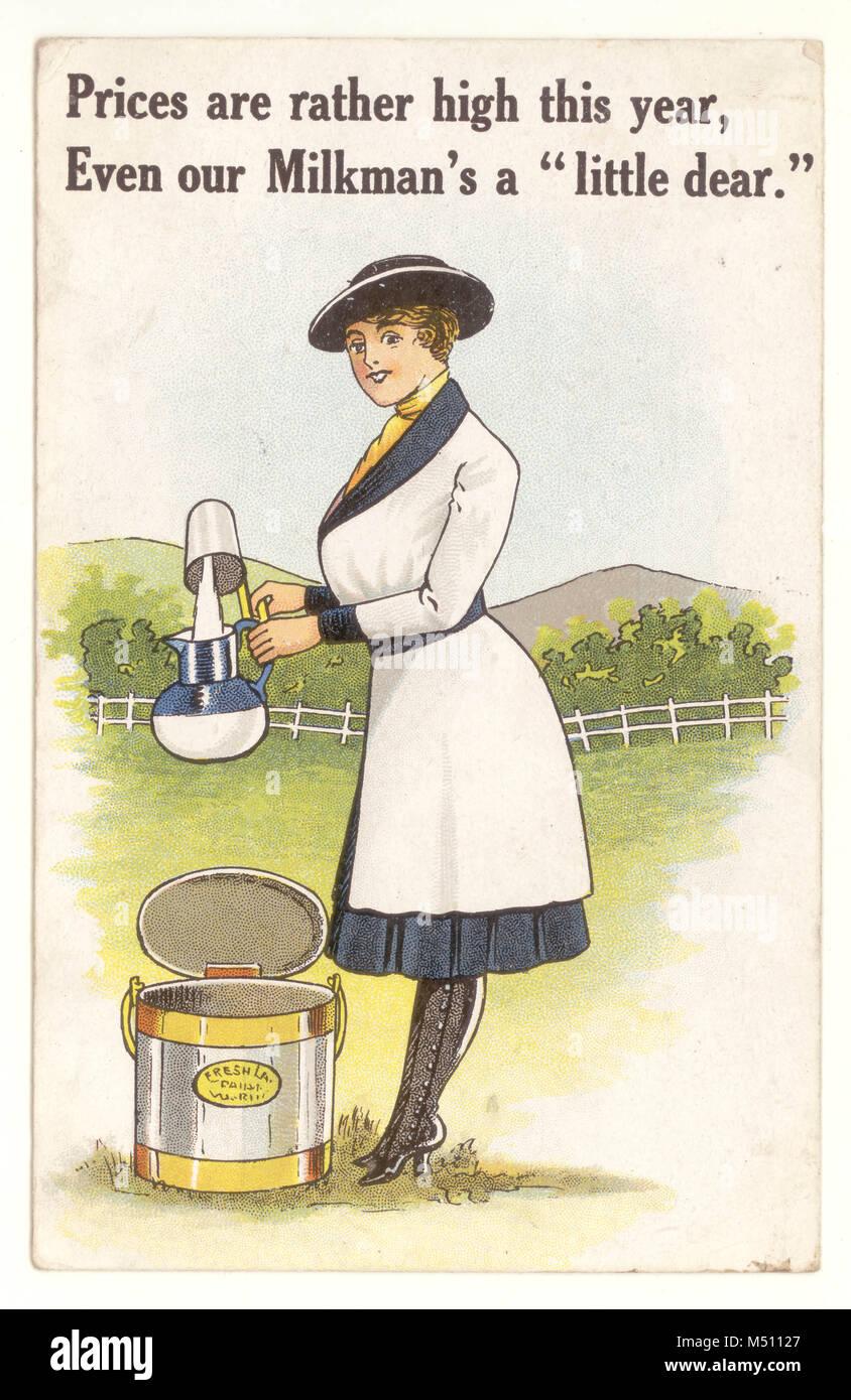 Comic postal lechero femenino, mostrando la evolución del papel de la mujer en la WW1 era, el voluntariado Imagen De Stock