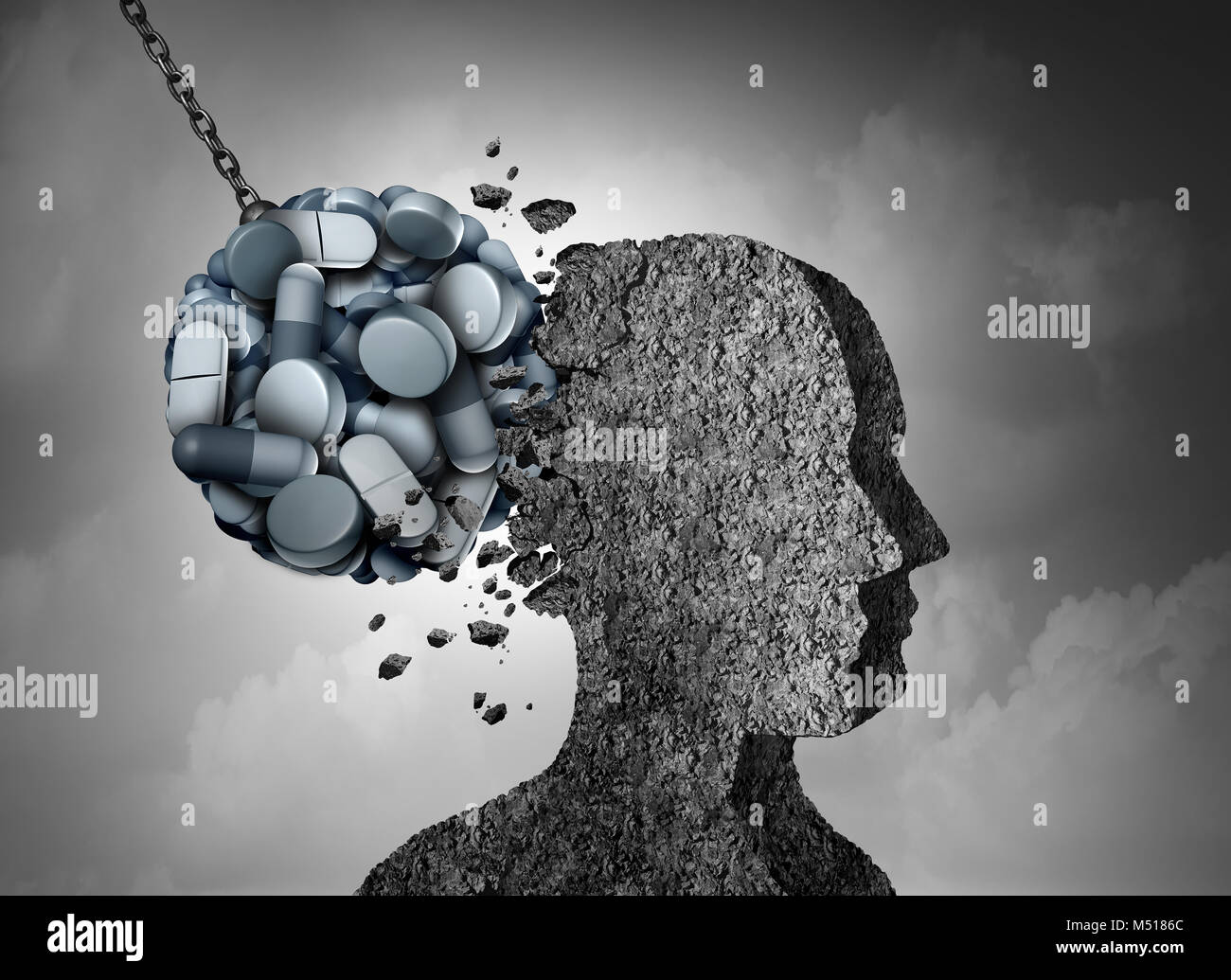 Epidemia de opioides peligro para la salud y crisis médica con un analgésico de venta con receta adicción concepto Foto de stock