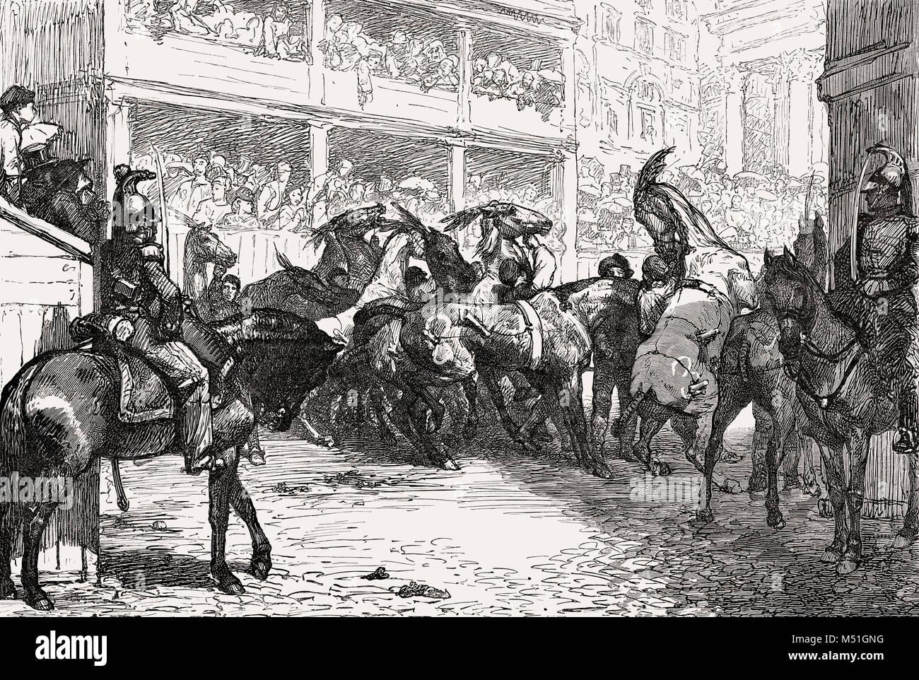 """Carnaval en Roma, el Barbary Caballos """" Inicio, Piazza del Popolo, Italia, del siglo XIX. Imagen De Stock"""