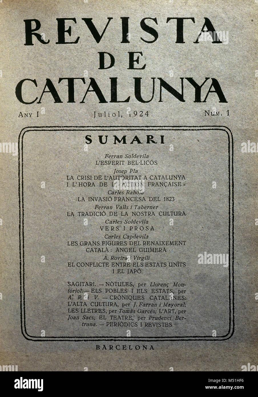 La Revista de Catalunya. Revista mensual editada en Barcelona por Antoni Rovira i Virgili (1882-1949). Fue fundada Imagen De Stock