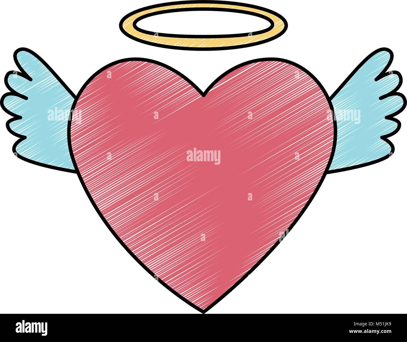 Corazon De Amor Con Alas Y Halo Ilustración Del Vector Imagen