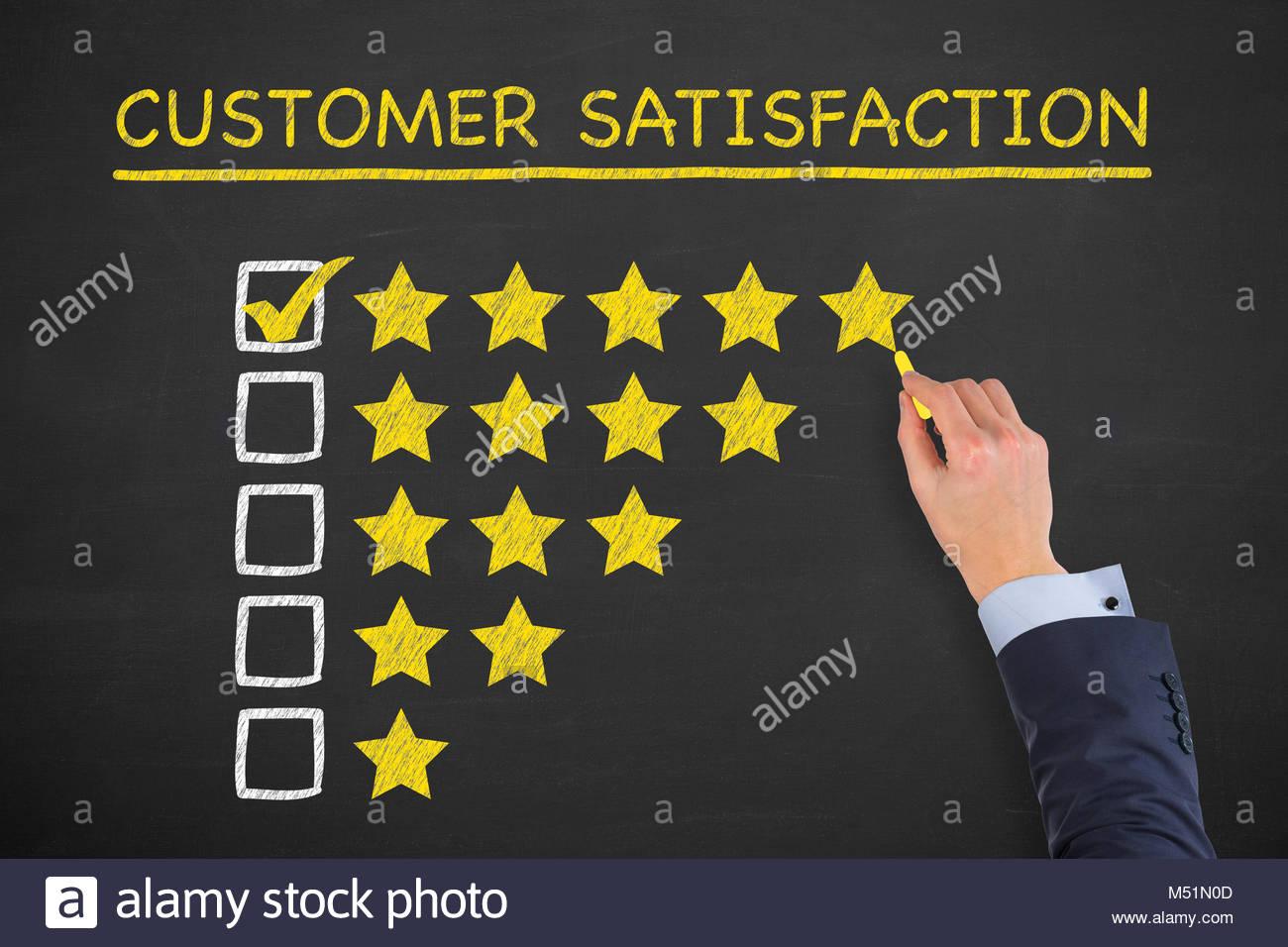Satisfacción del cliente conceptos sobre los antecedentes de la pizarra Imagen De Stock