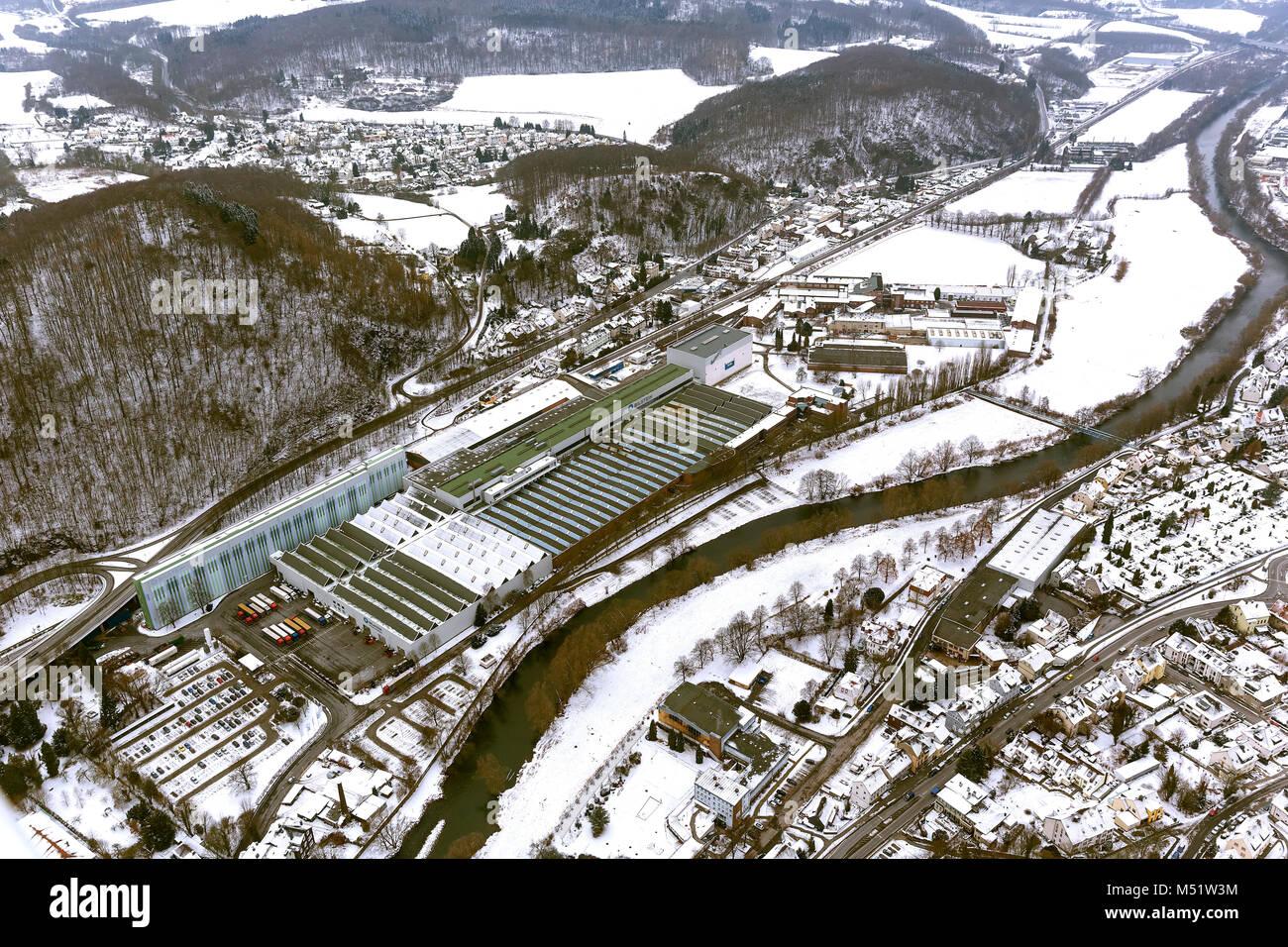 Vista aérea, empresa Bilstein Hohenlimburg, nieve, Hagen, Hagen-Hohenlimburg, área de Ruhr, Renania del Imagen De Stock